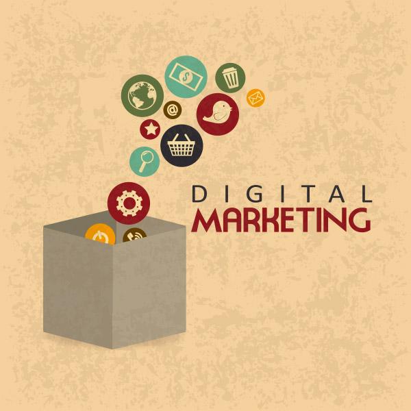digital marketing over pattern background vector illustration
