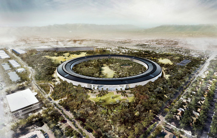 Arquitectura corporativa, render imagen virtual en 3D de la nueva sede de Apple, la Spaceship.