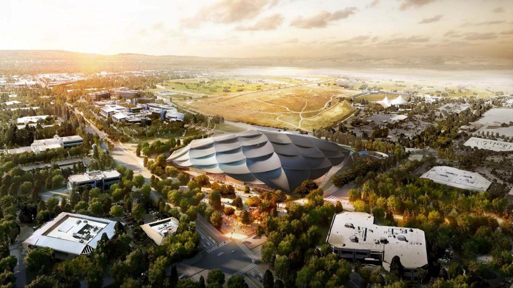 """Arquitectura corporativa, sedes corporativas, imagen virtual de la nueva sede corporativa de Google, """"Mountain View Office Campus"""", mimetizada al máximo con su entorno."""