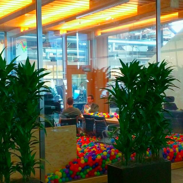 Mark Zuckerberg en una sala de reuniones convertida en piscina de bolas.