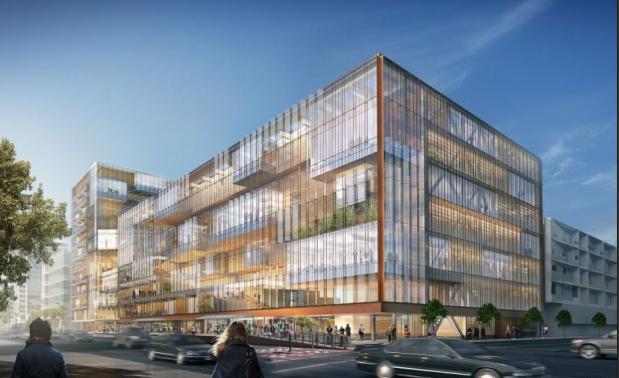 Proyecto de arquitectura corporativa, imagen virtual en 3D del edificio sede central de Uber.