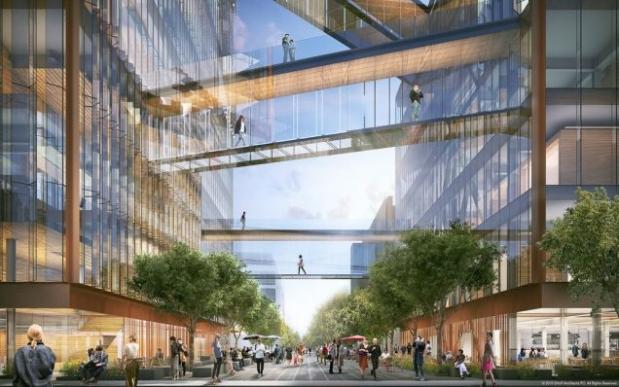 Proyecto de arquitectura corporativa, imagen virtual en 3D, pasarelas peatonales que unen las estructuras del edificio sede central de Uber.