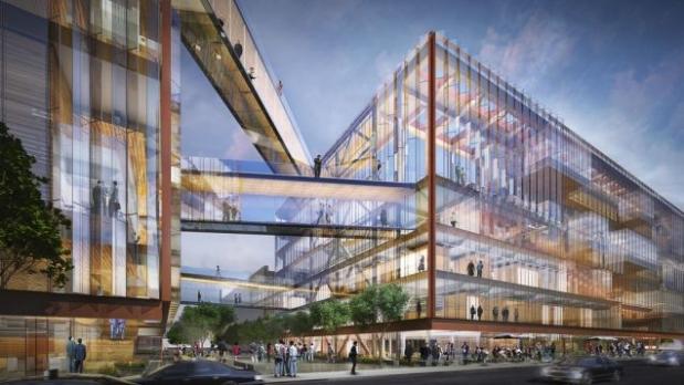 Proyecto de arquitectura corporativa, imagen virtual en 3D, detalle del edificio sede central de Uber.