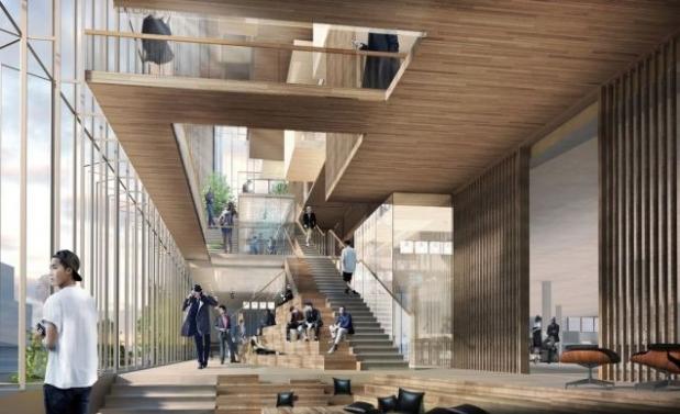 Proyecto de arquitectura corporativa, imagen virtual en 3D del interior del edificio sede central de Uber.