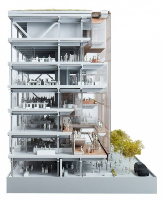 Proyecto de arquitectura corporativa, maqueta de sección del edificio sede central de Uber.