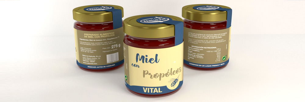 Diseño packaging marca de miel Naturval