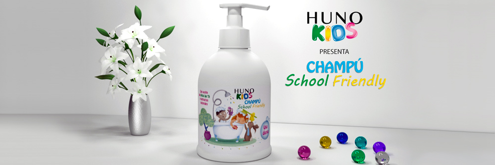 Diseño packaging marca Champú Huno Kids