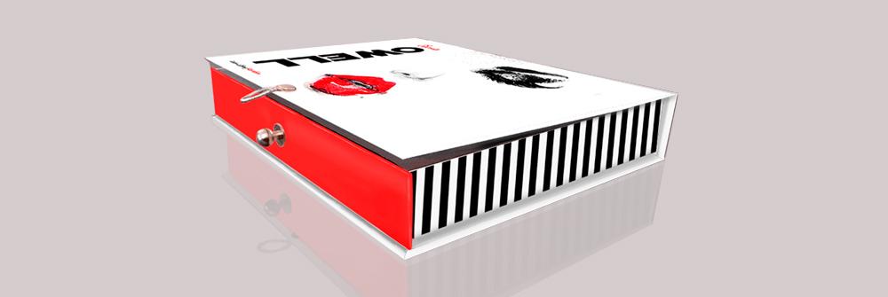 Diseño packaging marca Seena Owell, diseño de caja
