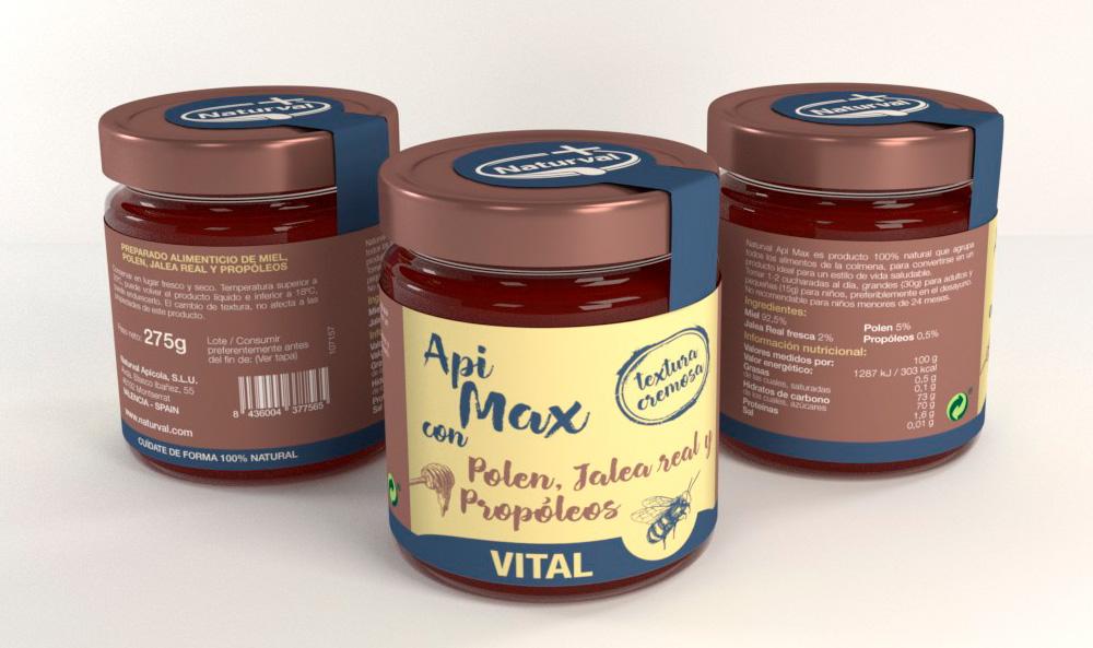 Diseño de imagen corporativa, marca naturval, diseño de etiquetas, diseño de packaging miel api max