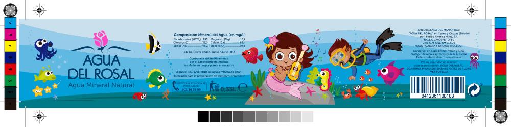 Diseño de packaging, diseño de etiqueta botella de agua Agua del Rosal 0,33 L envase infantil