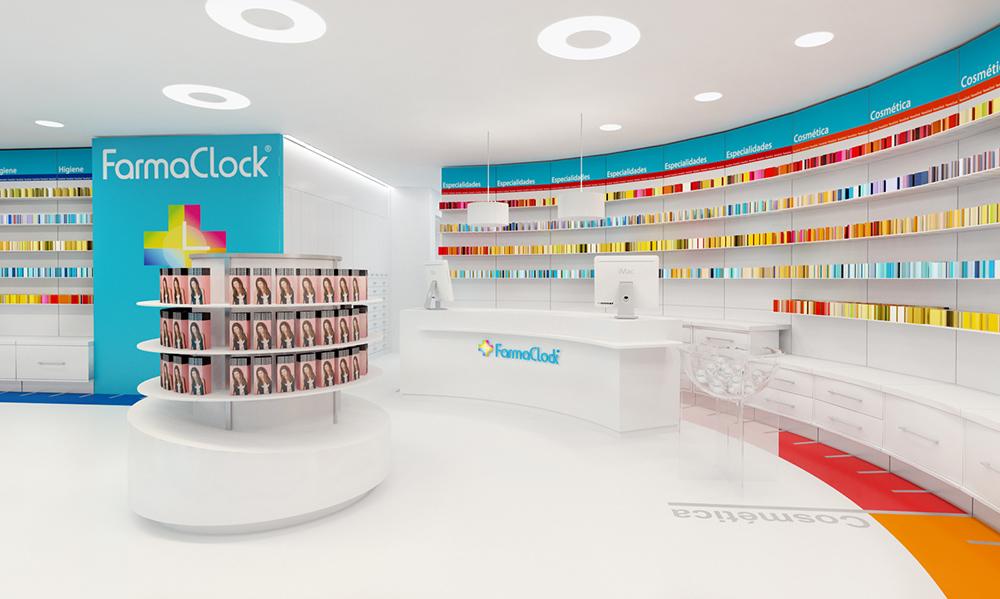 Infografía en 3D, imagen virtual diseño de arquitectura corporativa, diseño de tienda de farmacia, imagen 2