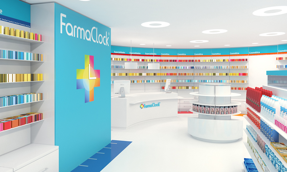 Infografía en 3D, imagen virtual diseño de arquitectura corporativa, diseño de tienda de farmacia, imagen 1