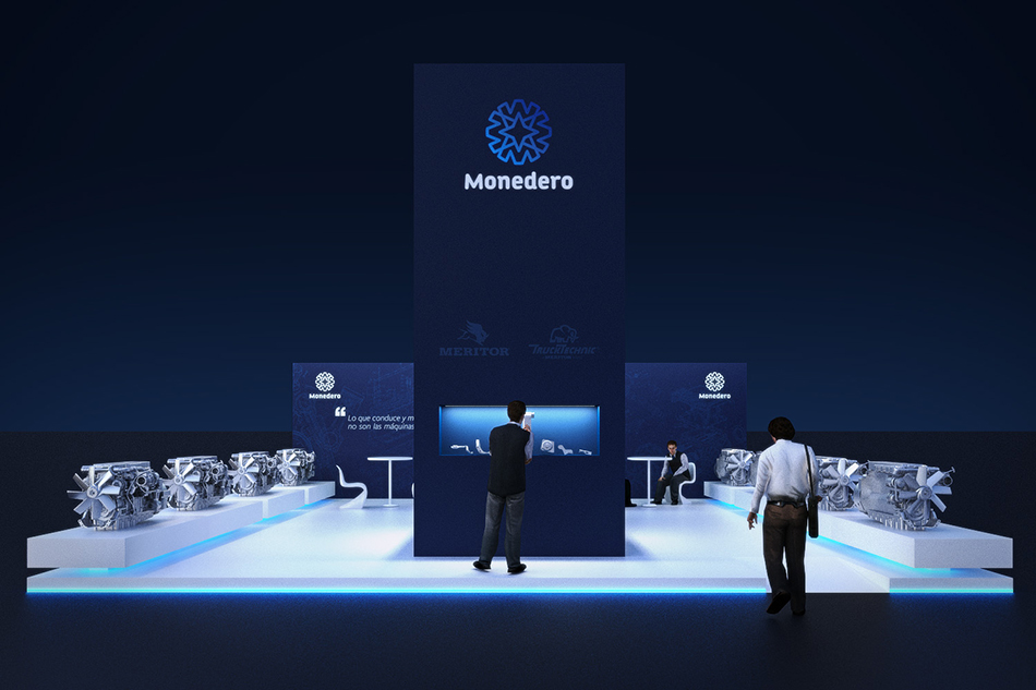 Infografía en 3D, imagen virtual diseño de arquitectura corporativa, diseño de stand monedero para feria de motores, imagen 1