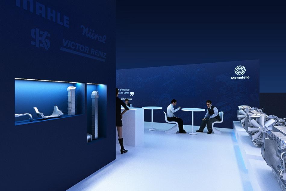 Infografía en 3D, imagen virtual diseño de arquitectura corporativa, diseño de stand monedero para feria de motores, imagen 2