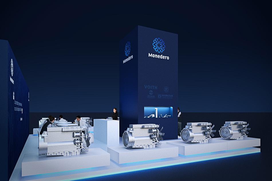 Infografía en 3D, imagen virtual diseño de arquitectura corporativa, diseño de stand monedero para feria de motores, imagen 3
