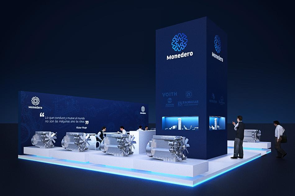 Infografía en 3D, imagen virtual diseño de arquitectura corporativa, diseño de stand monedero para feria de motores, imagen 4