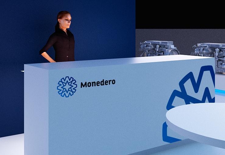 Infografía en 3D, imagen virtual diseño de arquitectura corporativa, diseño de stand monedero para feria de motores, imagen 5