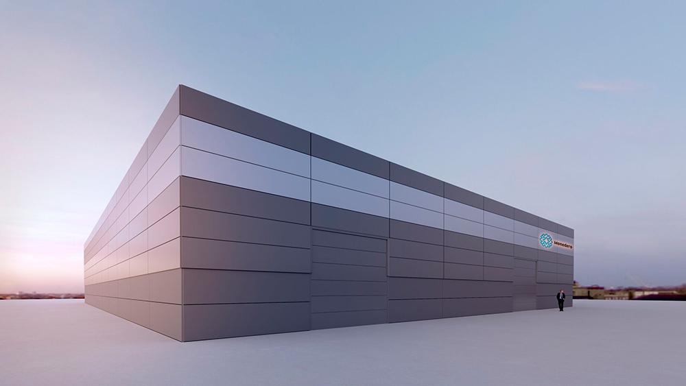 Proyecto de arquitectura corporativa, Diseño Nave Auto Comercial Monedero en Motilla del Palancar, Cuenca. Imagen virtual en 3D nº2