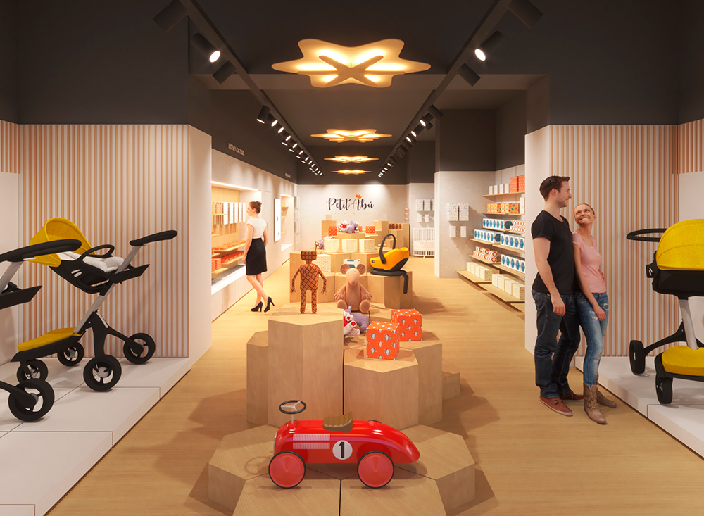 Infografía en 3D, imagen virtual diseño de arquitectura corporativa, diseño de tienda infantil, imagen nº 2