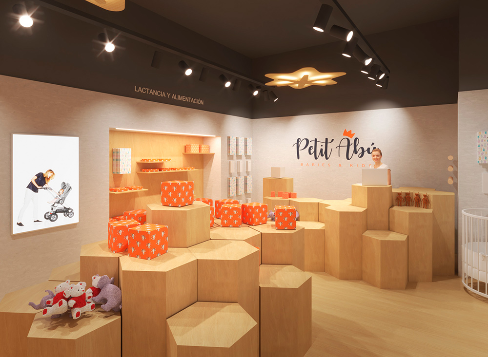 Infografía en 3D, imagen virtual diseño de arquitectura corporativa, diseño de tienda infantil, imagen nº 6
