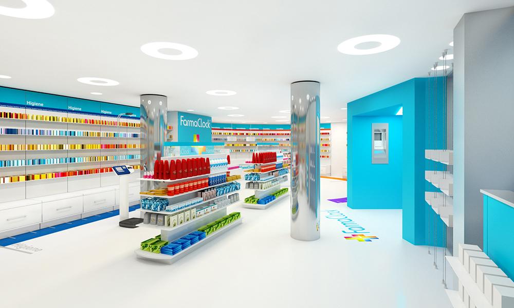 Infografía en 3D, imagen virtual diseño de arquitectura corporativa, diseño de tienda de farmacia, imagen 4