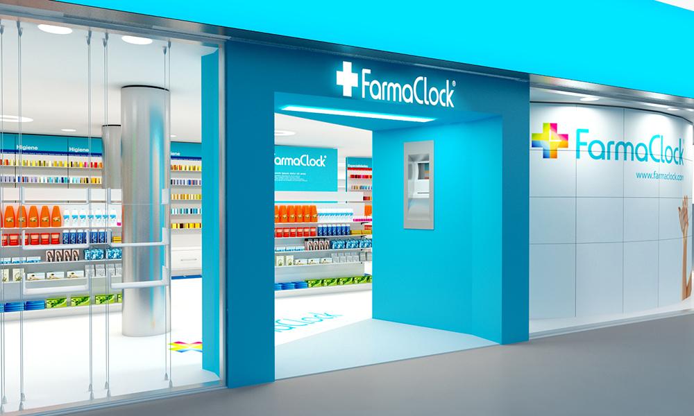 Infografía en 3D, imagen virtual diseño de arquitectura corporativa, diseño de tienda de farmacia, imagen 3