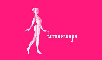 Identidad corporativa, diseño del logotipo de Tumaxwapa en versión horizontal sobre fondo blanco, diseño de imagen corporativa Tumaxwapa.